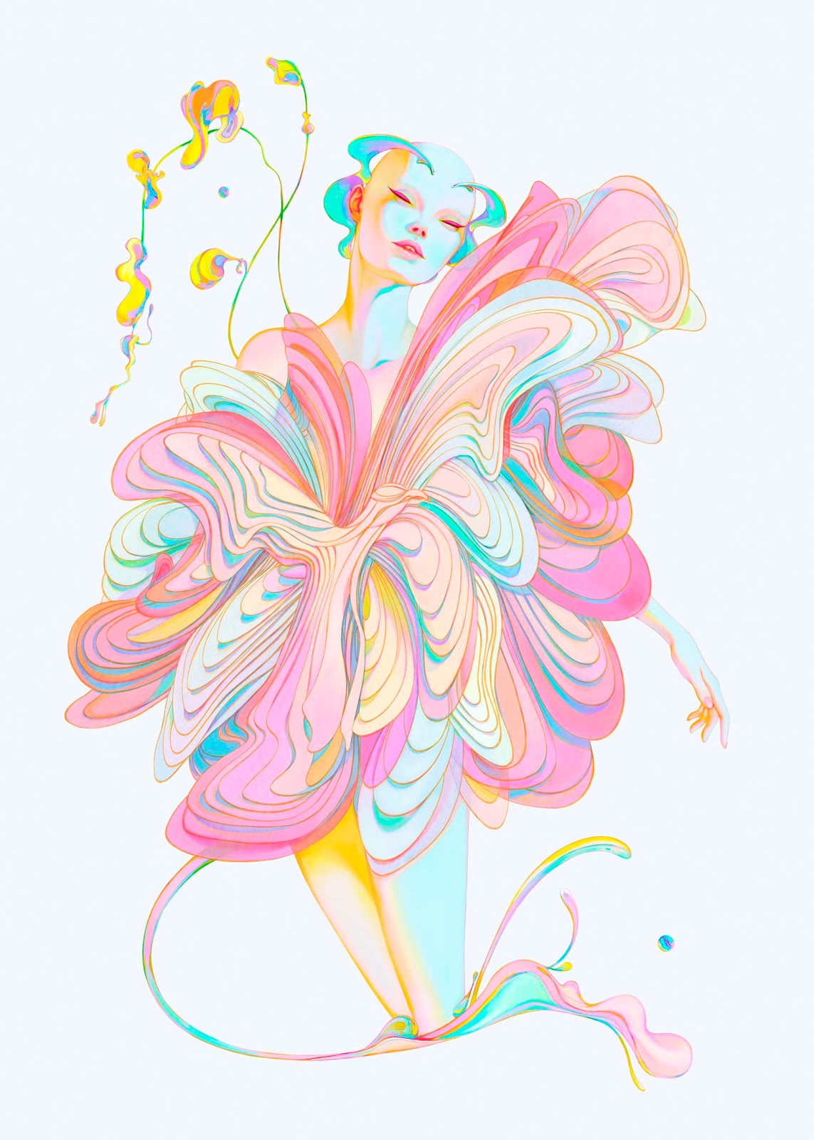 Ilustración Christian Orrillo de ninfa colorida