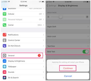 Cara Menebalkan Teks Pada iPhone / iPad Atau Menyesuaikan Ukuran