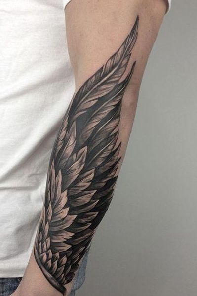 Wing Tattoo on Forearm