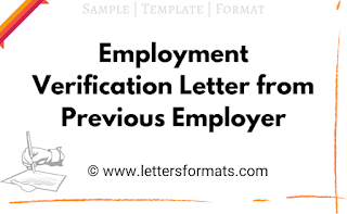 Employment Verification Letter from Previous Employer Sample