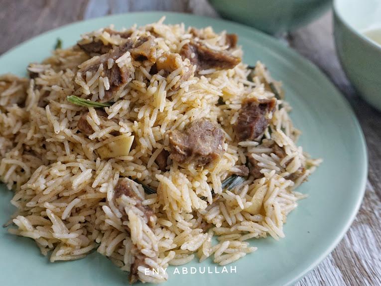 nasi daging utara, nasi daging mudah, resepi air asam kerisik,