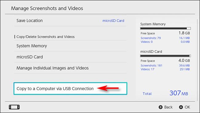 """في التبديل """"إدارة لقطات الشاشة ومقاطع الفيديو"""" ، حدد """"نسخ إلى جهاز كمبيوتر عبر اتصال USB""""."""
