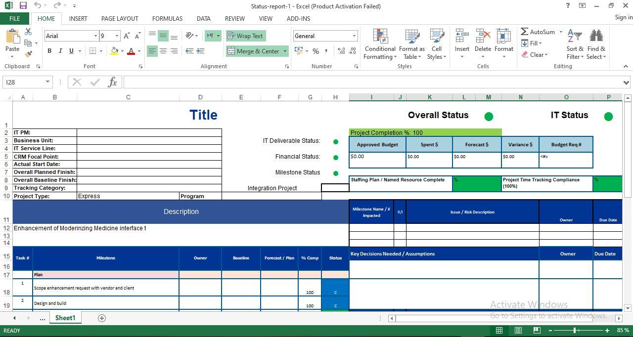 Project progress report template excel