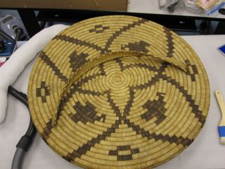 Lid of Tohono basket, art conservation of Native American artifacts, laboratory