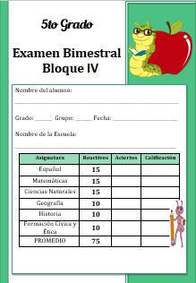 Examen del Bloque 4 Ciclo escolar 2016-2017 Quinto grado