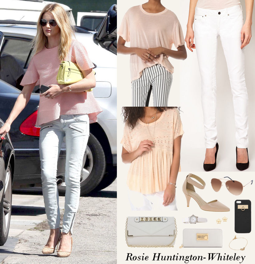 pink top white jeans outfit idea
