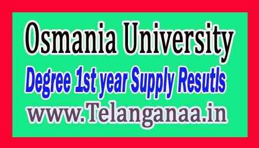Osmania University OU Degree 1st year Supply Resutls