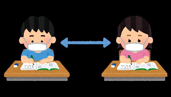 教室で離れて勉強をする学生のイラスト(小学校)