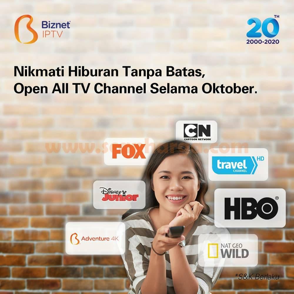 Biznet IPTV Promo Gratis Open All TV Channel Selama Oktober 2020*