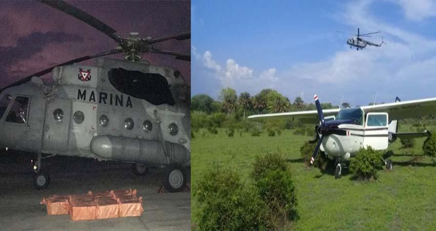 Helicóptero MI-17 de la SEMAR embosca y obliga a descender avioneta cargada con 490 kilos de coca en Chiapas.