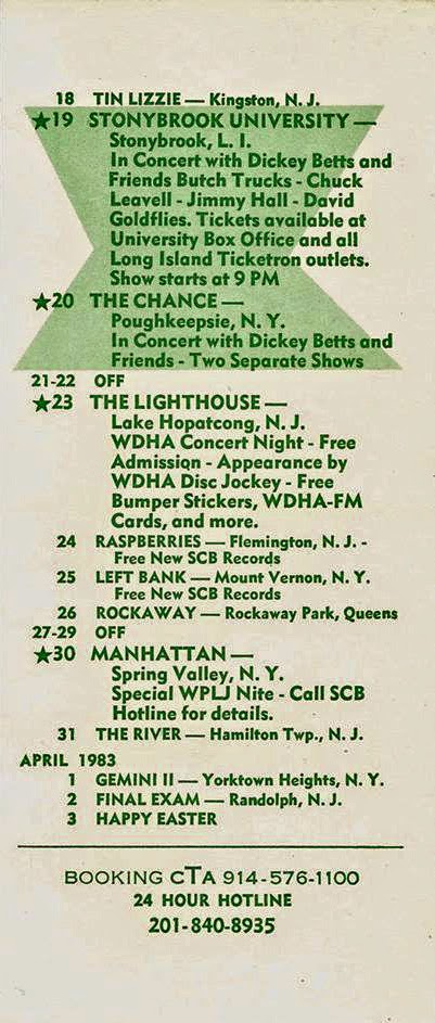 Southern Cross Band club schedule for March 1983