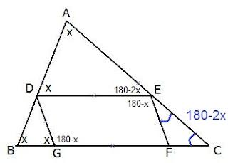 זווית B במשולש ABC מסומנת ב- x