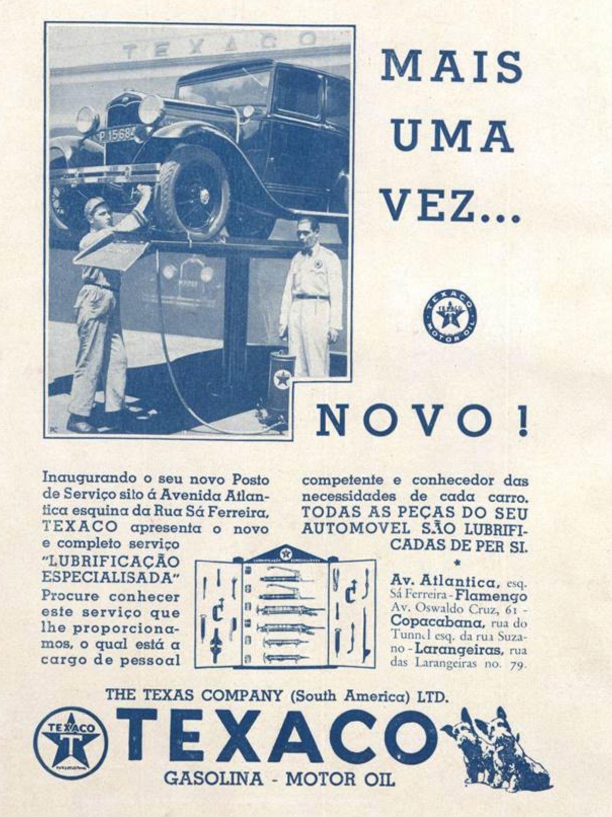 Anúncio da Texaco de 1931 apresentando serviço de troca de óleo na cidade do Rio de Janeiro