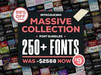 Massive Collection 250+ Fonts Bundle