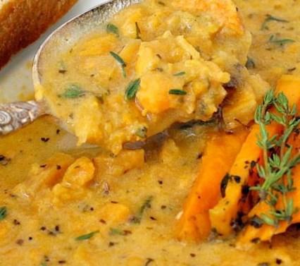 Roasted Italian Sweet Potato Soup #vegetarian #healthy