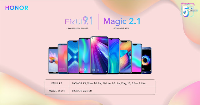 Honor EMUI 9.1 is available in August and Magic 2.1 is available now
