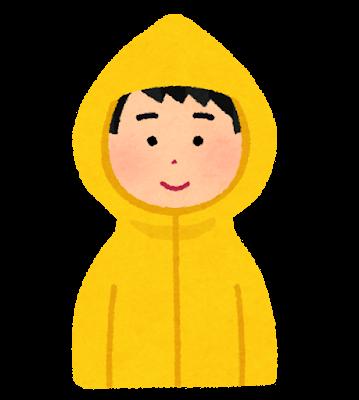 かっぱを着た男性のイラスト