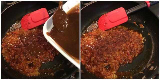 Adding the tamarind & dates chutney to the sauteed onion & tomato mixture to prepare the potato filling for the dabeli.