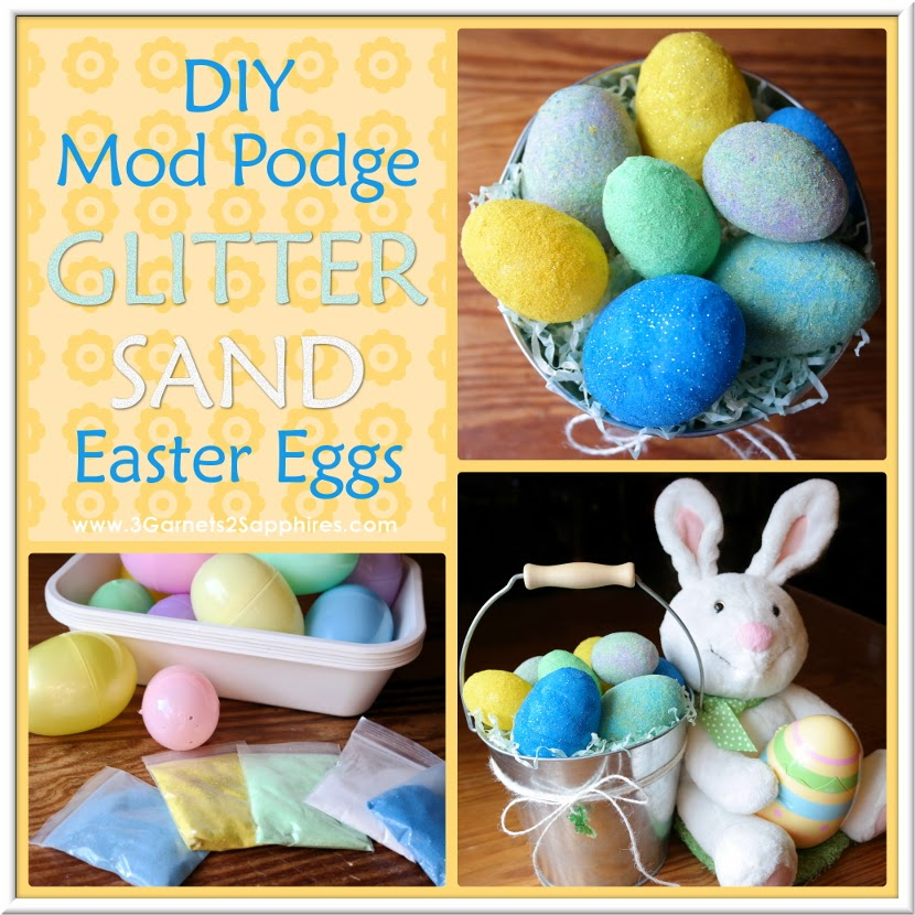 DIY Mod Podge Glitter Sand Easter Eggs Easy Craft Tutorial #ModPodge #EasterCrafts