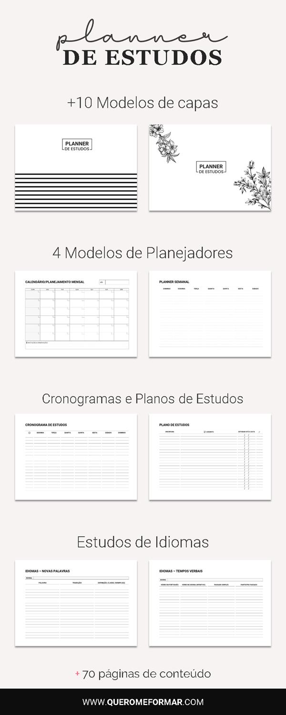 Conteúdo do Planner de Estudos para Fazer Download e Imprimir | Completo 2021