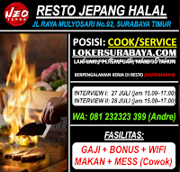 Open Recruitment at Neo Tepan Resto Jepang Halal Surabaya Juli 2020