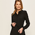 Rochie scurta casual neagra tip camasa de zi ieftina la moda