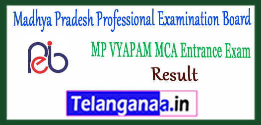 MP VYAPAM Madhya Pradesh Professional Examination Board MCA Entrance Test Result 2018