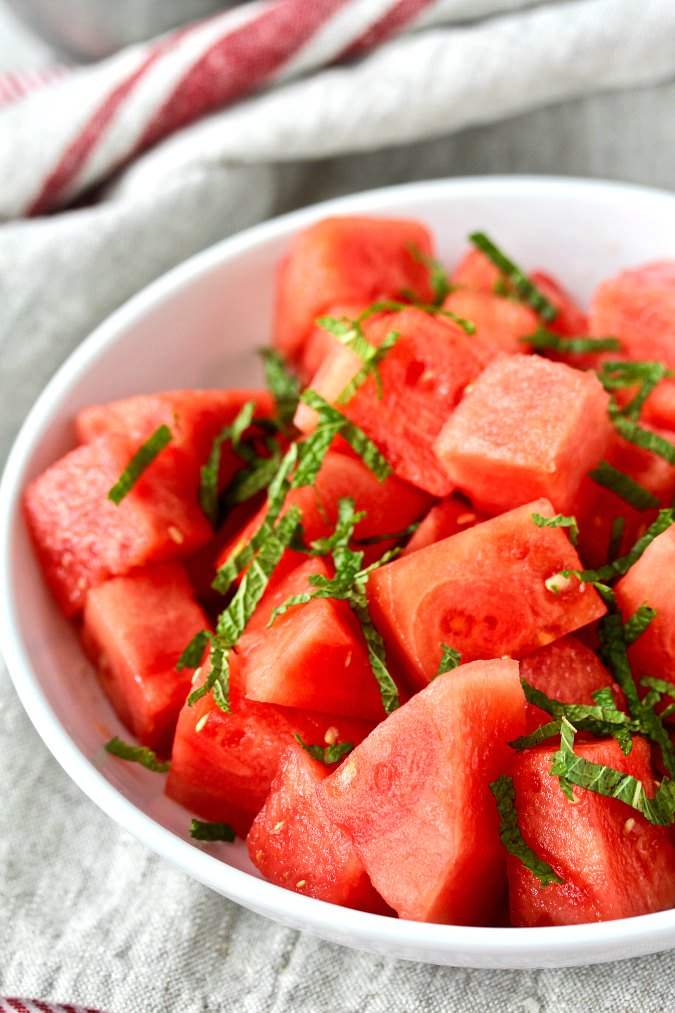 Watermelon Salad with Mint and Lime in a bowl