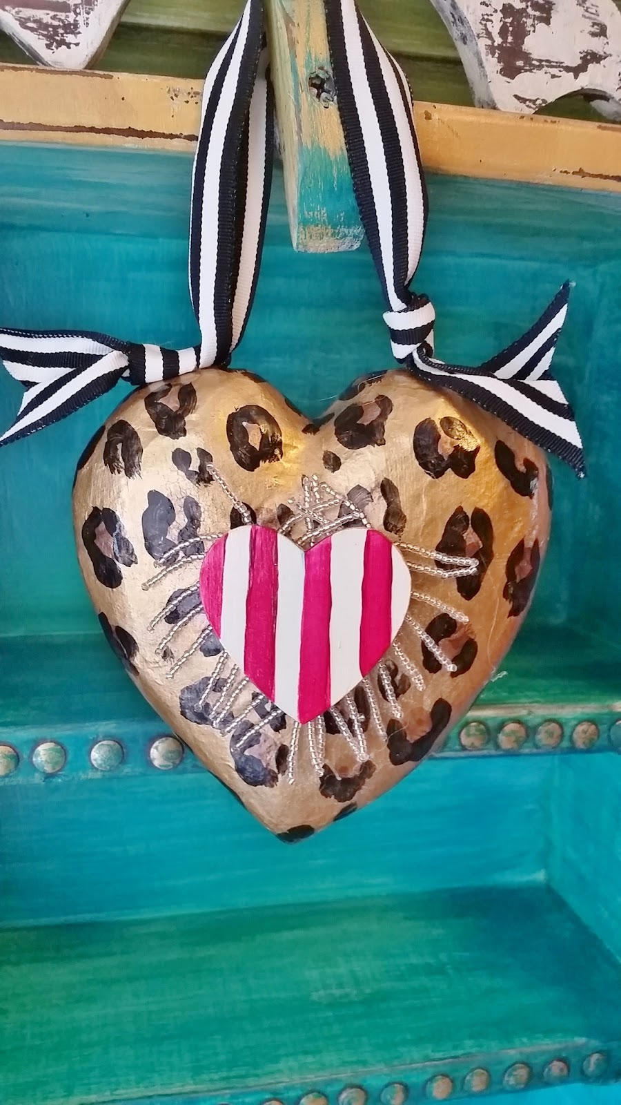 hand painted animal print Valentine heart ornament