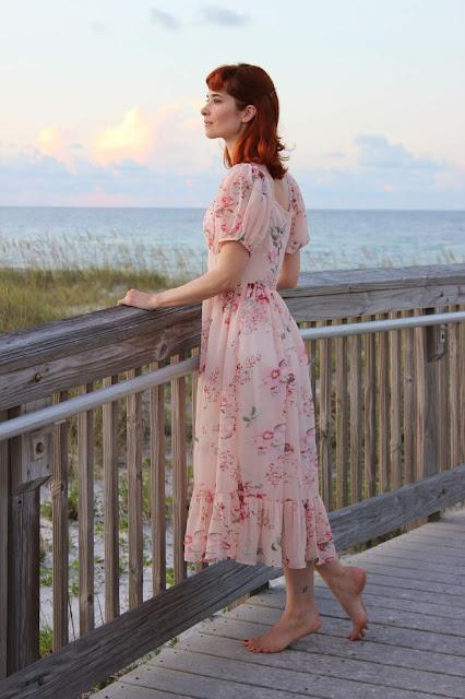 Enchanting Peony Floral Chiffon Maxi Dress from Chic Wish