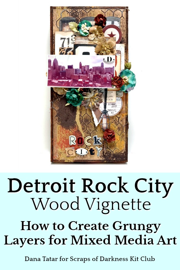Grungy Mixed Media Layered Wood Vignette with Detroit Cityscape