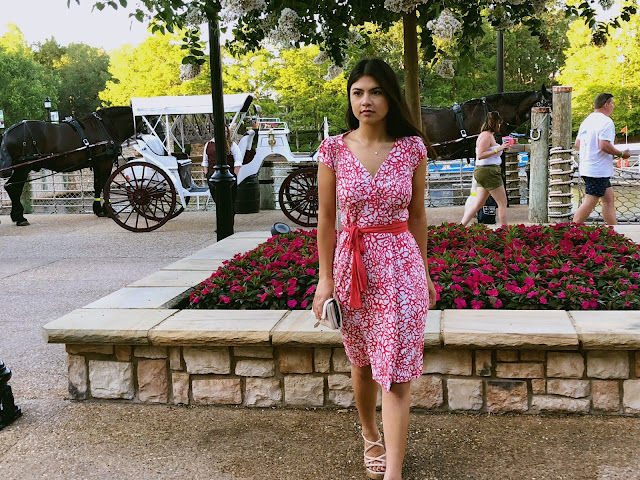 Kelly Fountain wearing Diane von Furstenburg wrap dress at Disneyworld Orlando Florida