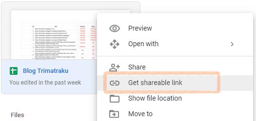 Cara share link file dan folder langsung di Google Drive