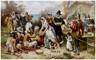 Dia de Ação de Graças | The First Thanksgiving 1621 by Jean Leon Gerome Ferris (1899) | www.professorjunioronline.com