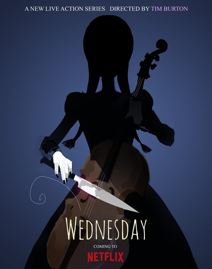 Постер сериала Wednesday от Netflix и Тима Бёртона - продолжения «Семейки Аддамс»