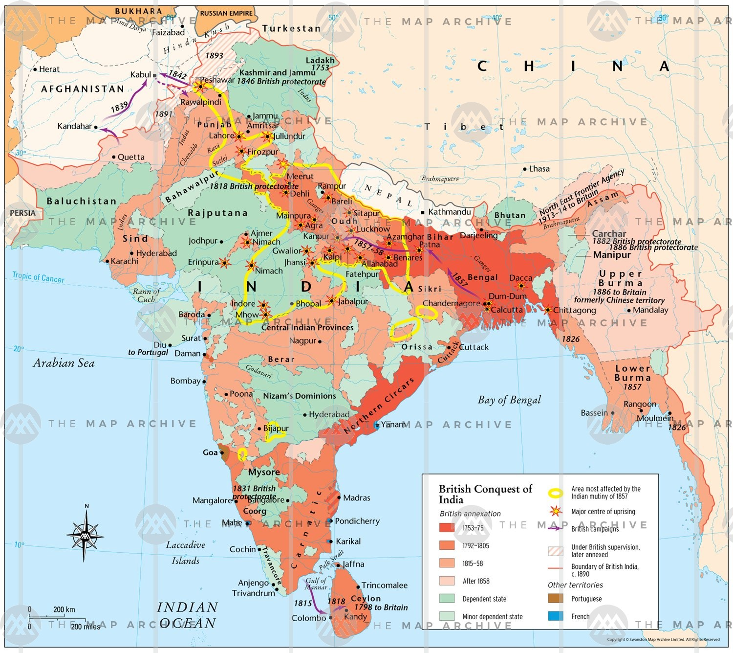 map of british india
