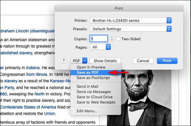 حدد Save as PDF في Firefox على Mac
