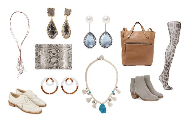 Аксессуары капсульного гардероба белый, серый, кремовый, коричневый, голубой