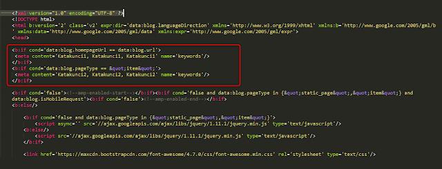 cara memasang meta keyword manual di blogspot