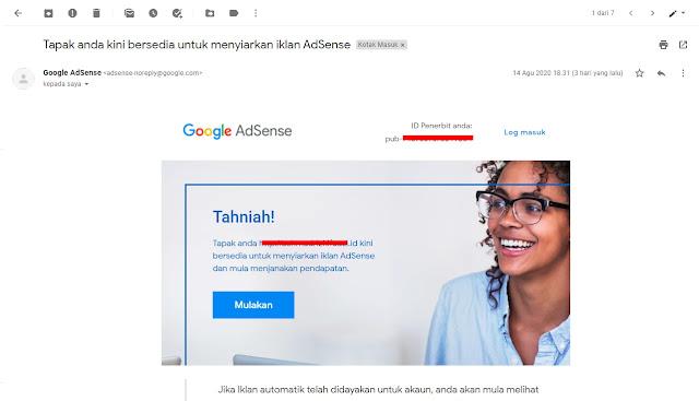 Email Dari Google Blog Disetujui Google Adsense Dan Siap Menampilkan Iklan