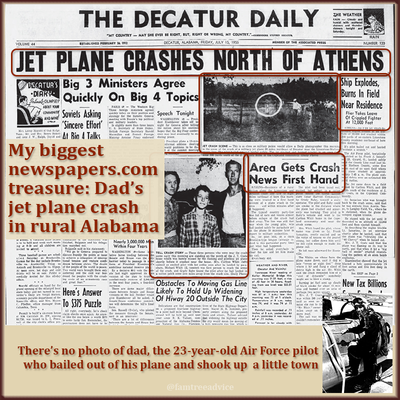 I knew all about Dad's jet fighter bail out, but seeing all the news coverage is priceless.