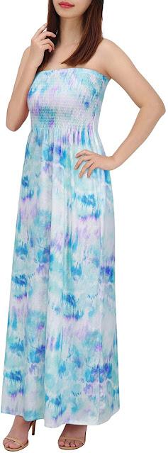 Tie Dye Strapless Maxi Dresses for Women