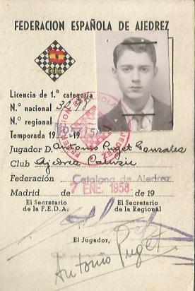 Ficha federativa de Antoni Puget i González en 1958