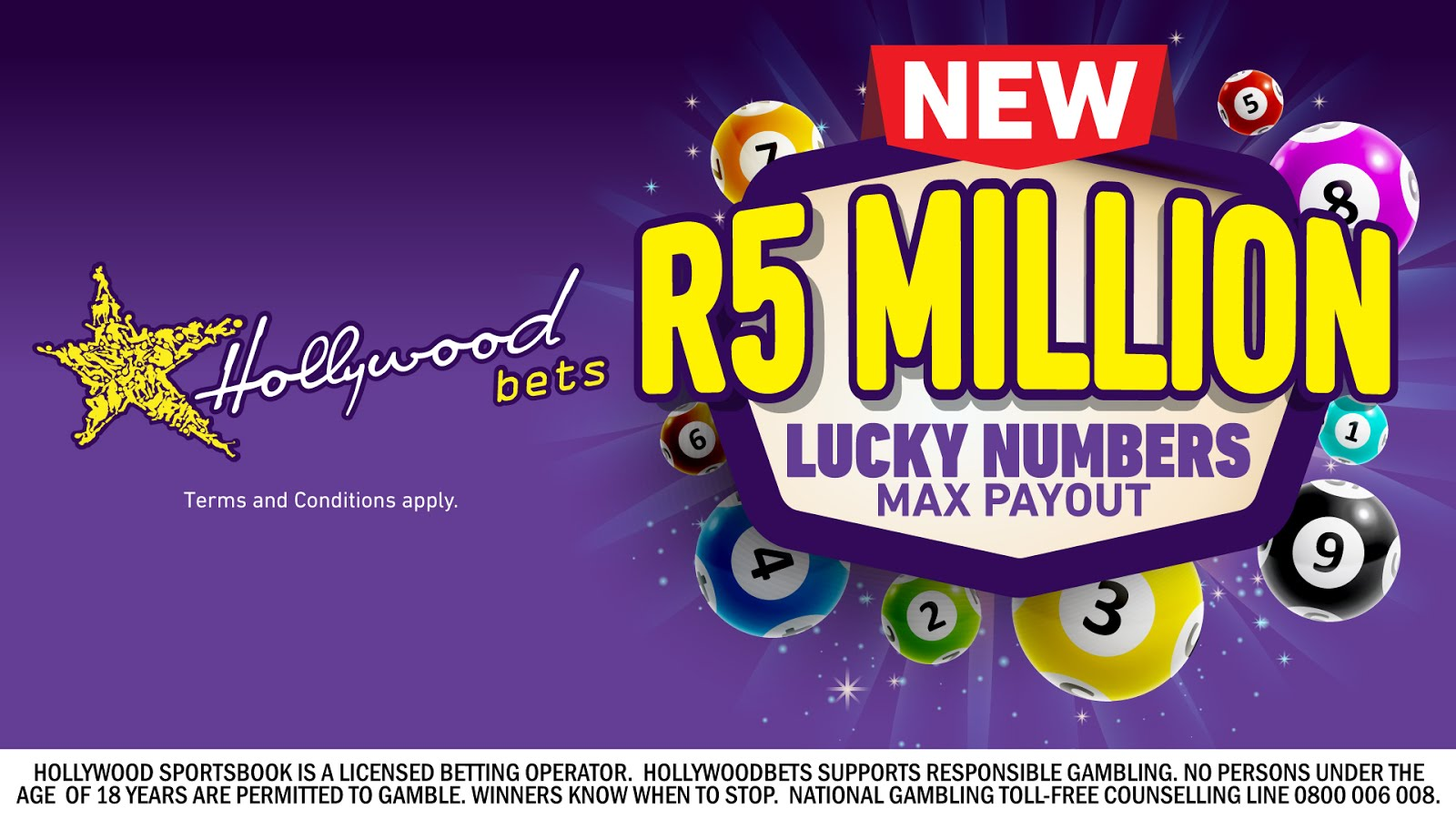 Lucky Numbers Max Payout now R5 Million at Hollywoodbets! Terms and Conditions Apply
