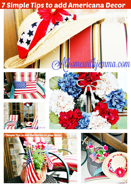 Red and white wreath, American flags, American pillows, flowers, straw hat, faux flowers, bandanna
