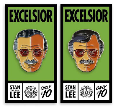 San Diego Comic-Con 2017 Exclusive Stan Lee Marvel Portrait Enamel Pins by Tom Whalen & Mondo