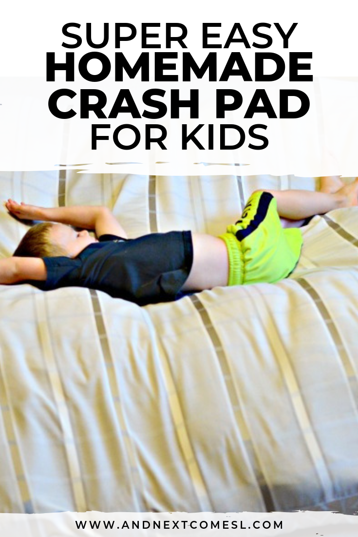 DIY crash pad for kids: an easy no sew tutorial for how to make a homemade crash mat