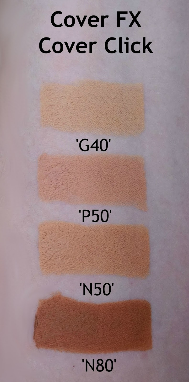 Cover FX Cover Click in 'G40', 'P50', 'N50', and 'N80' review swatch