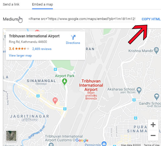 get directions google map HTML code