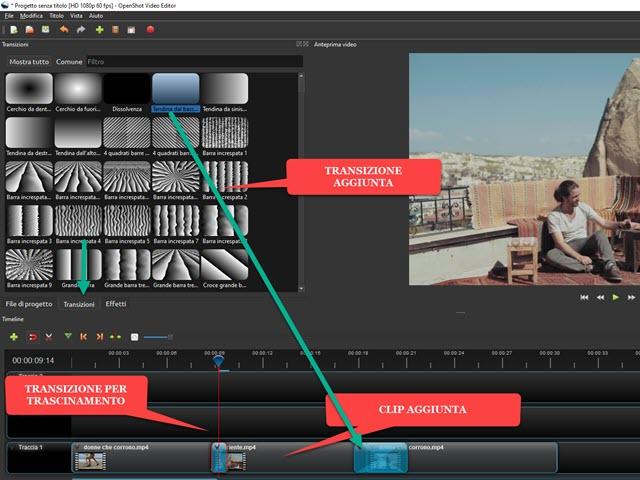 aggiungere transizioni alle clip inserite nei video